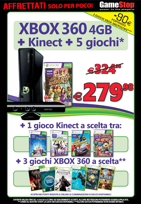 Offerta Xbox + Kinect + Giochi
